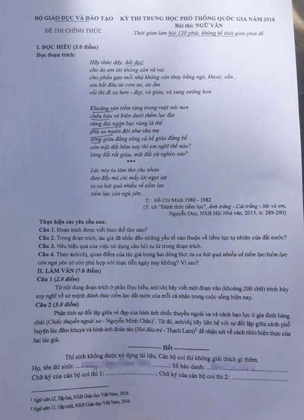 đề thi và đáp án bài thi ngữ văn